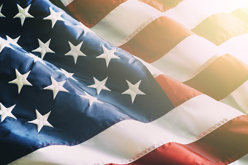 Closeup Ruffled American Flag Stock Photo - Download Image Now