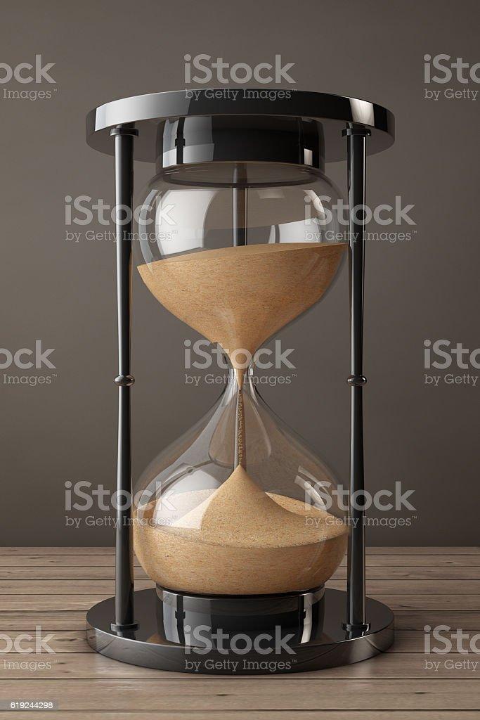 Closeup Sand hourglass. 3d Rendering stock photo