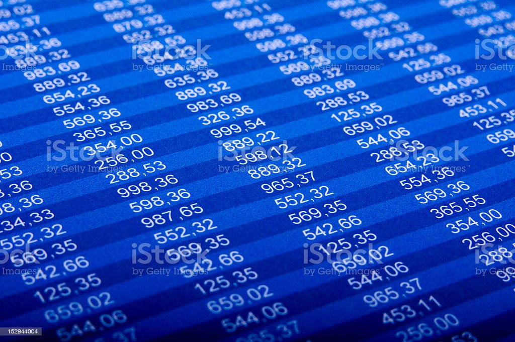 Close-up section of a digital financial report stock photo