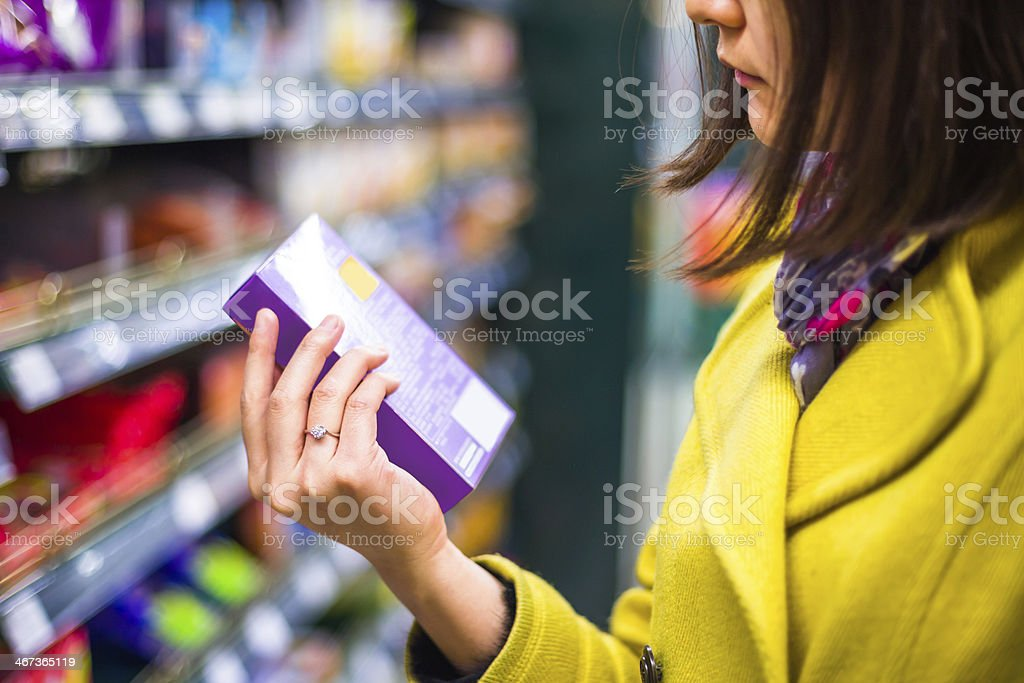 Closeup selection of merchandise in the supermarket stock photo