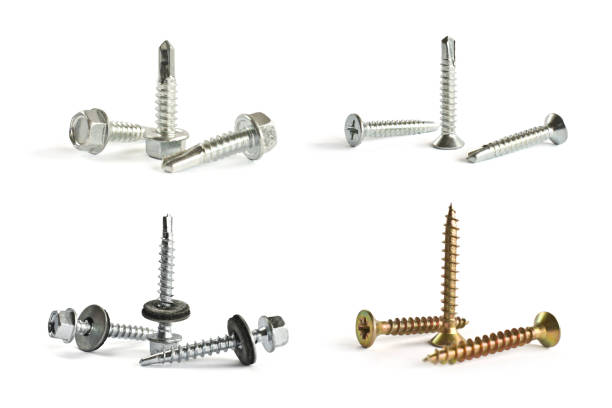 Closeup Self Drilling screws for roofing with a drill and with sealing washer isolated on white. Isolated fasteners. Connecting material on white Closeup Self Drilling screws for roofing with a drill and with sealing washer isolated on white. Isolated fasteners. Connecting material on white bolt fastener stock pictures, royalty-free photos & images