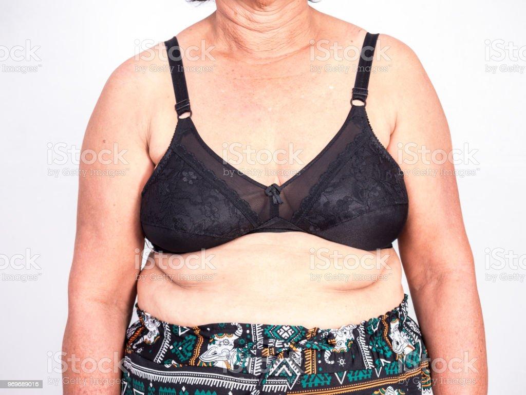 Closeup senior Asiatin tragen schwarzen Balken – Foto