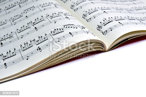 istock Closeup sheet music. Copy space. Musical background. 926081970
