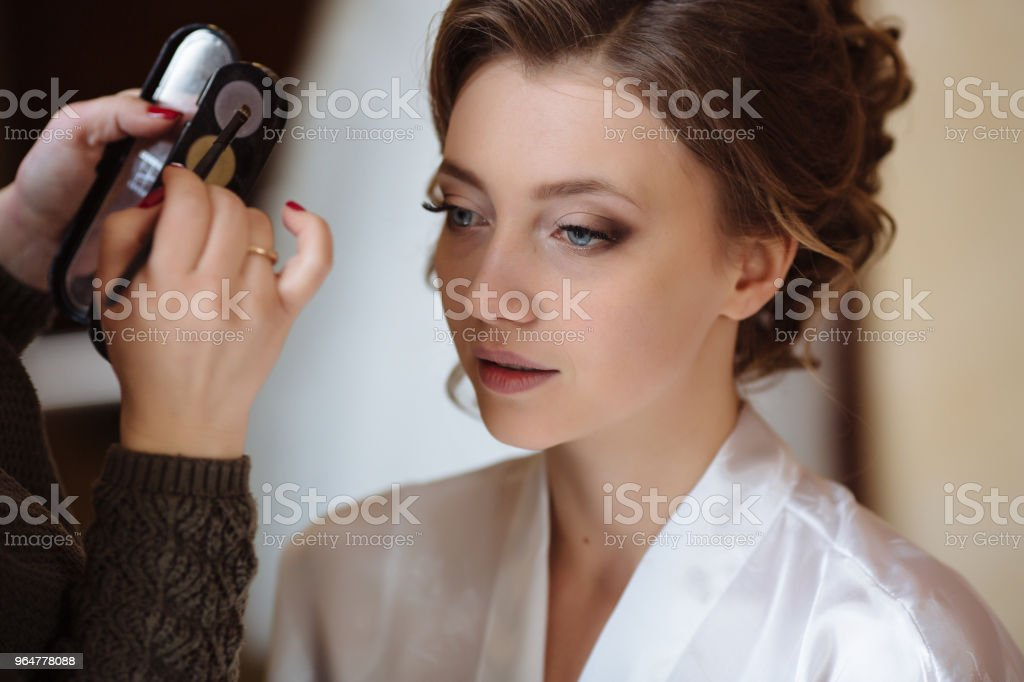 Close-up shooting process of the make-up artist work with shadows. The specialist applies makeup on the face of the model royalty-free stock photo