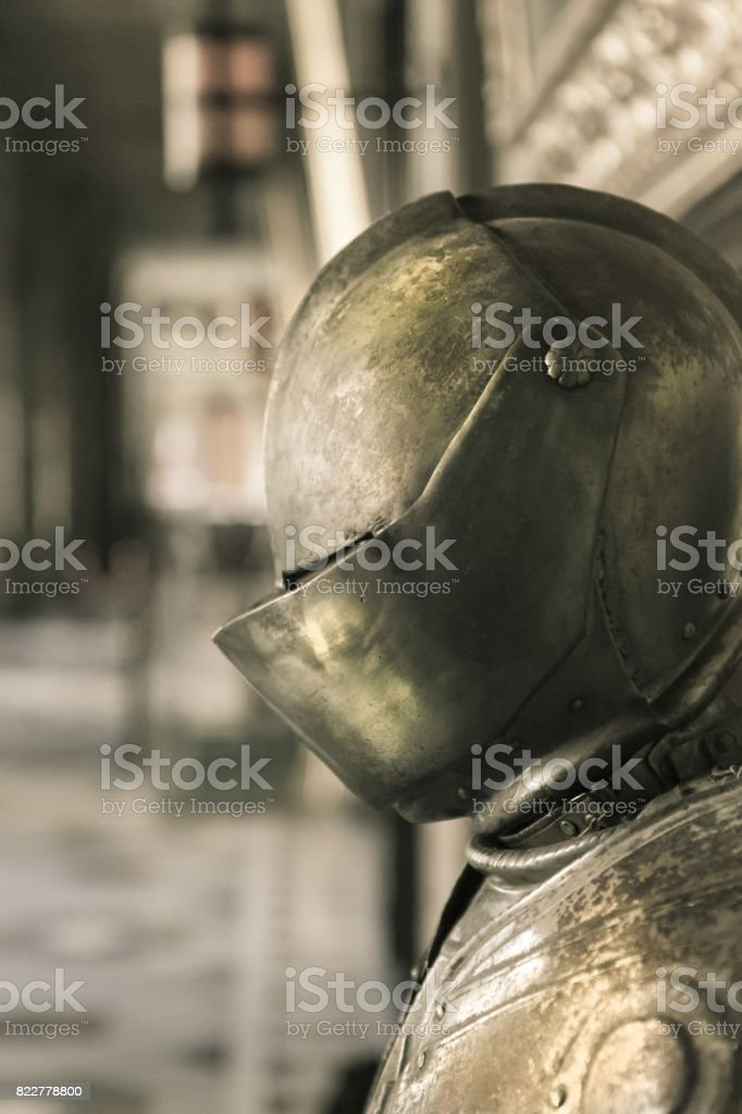 Closeup shot about a steel plating in malta stock photo