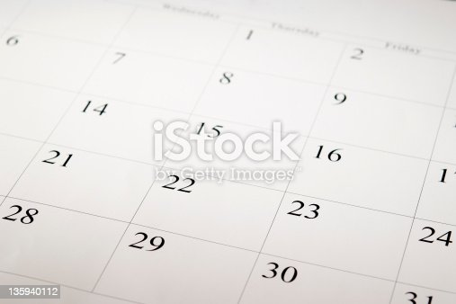 High angle view of a blank calendar with calendar date.