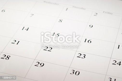 istock Close-up shot of a blank calendar with calendar date 135940112