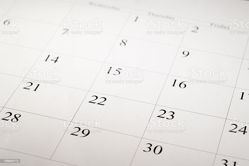Close-up shot of a blank calendar with calendar date stock photo