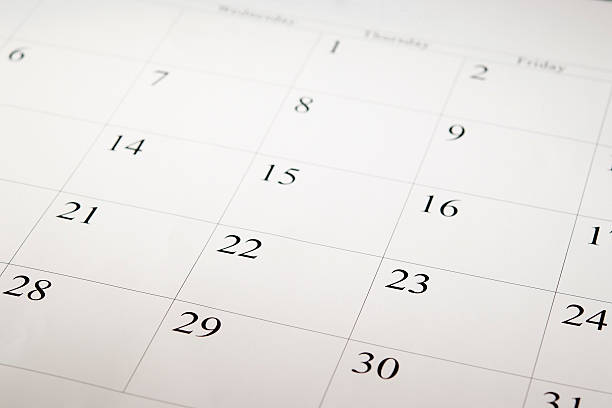 close-up shot of a blank calendar with calendar date - calendar stok fotoğraflar ve resimler