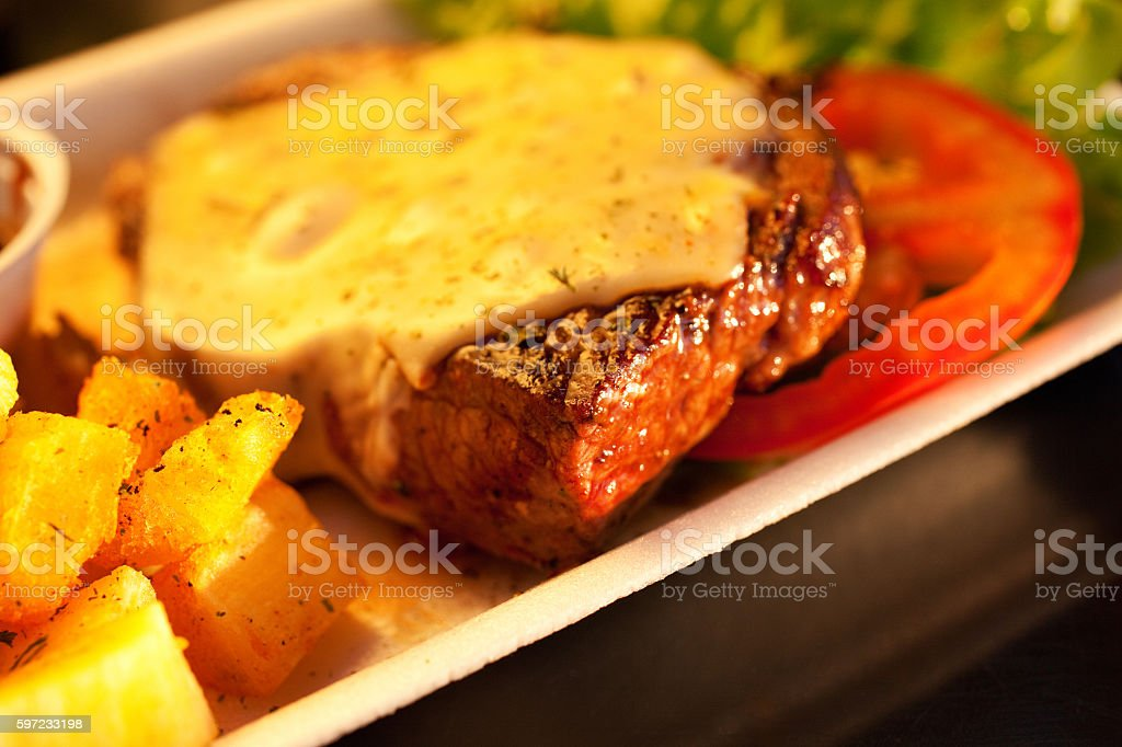 Close-Up Shot of a Delicious Picanha Steak with Cheese Salad - foto de acervo