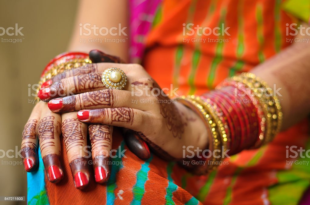 Closeup Shot Of A Female Wearing Bangles Henna Hands Stock Photo ...