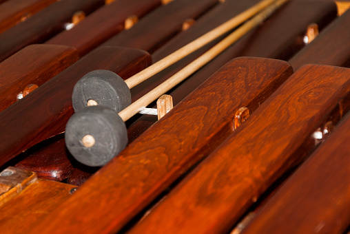 Close-up shot of a marimba or Hormigo keyboard. Guatemala. National instrument of Guatemala made with Hormigo wood the marimba keyboard.
