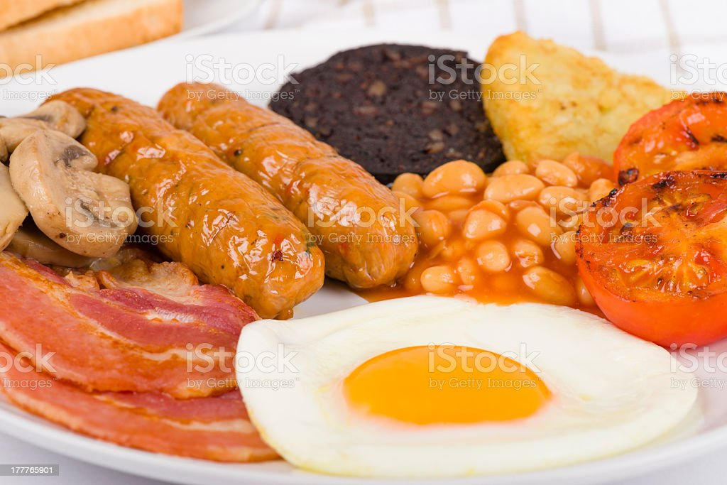 Close-up shot of a plate of English Breakfast stock photo
