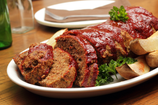 Meatloaf with roasted potato wedges