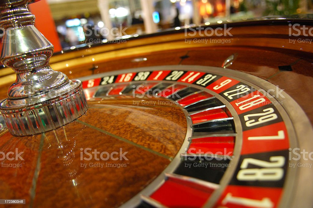 A close-up shot of a roulette in a casino stock photo