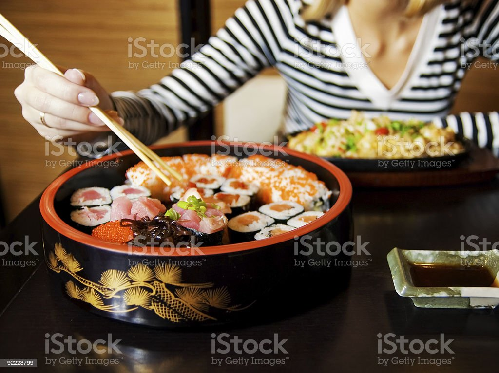 Close-up shot of a sushi plate royalty-free stock photo