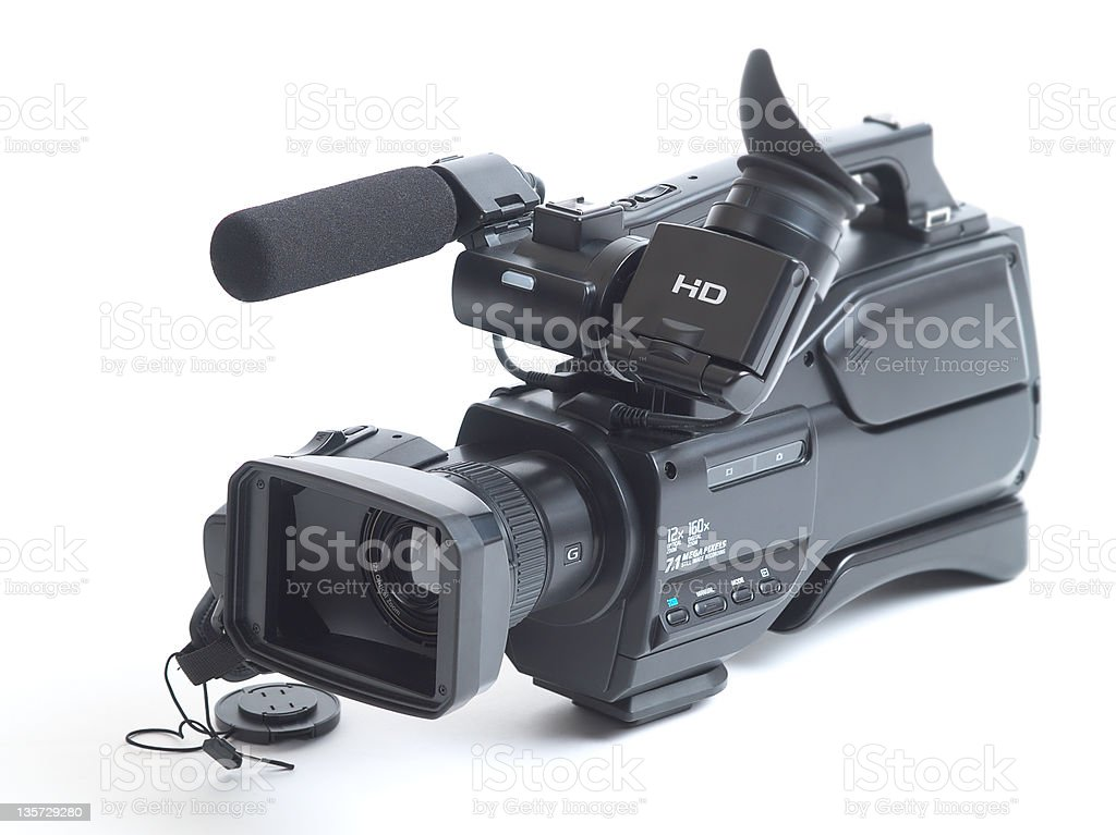 Close-up shot of a video camera isolated on a white backdrop stock photo
