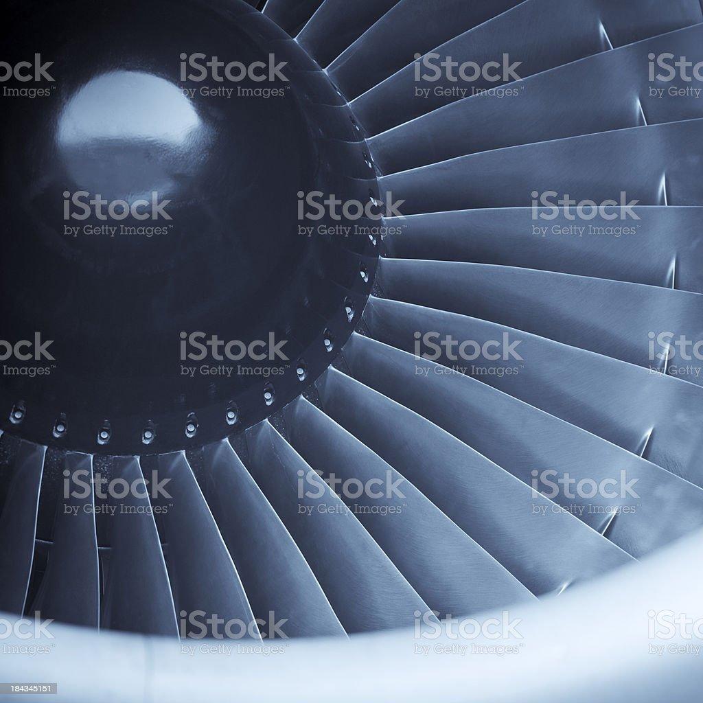 Closeup shot of aircraft jet engine turbine stock photo