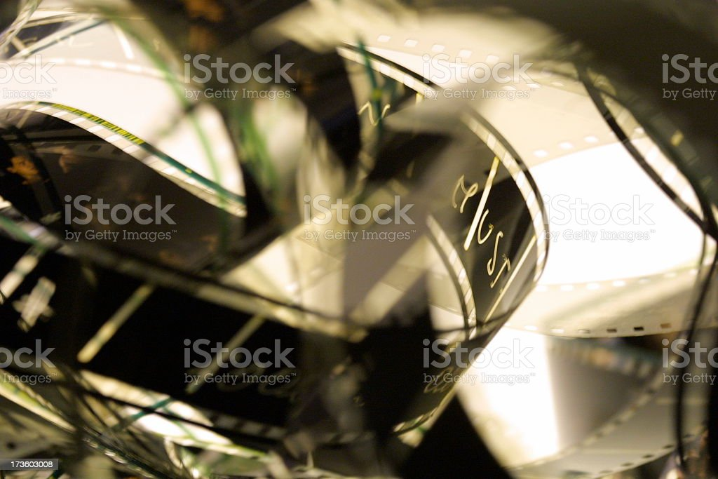 A close-up shot of celluloid films stock photo