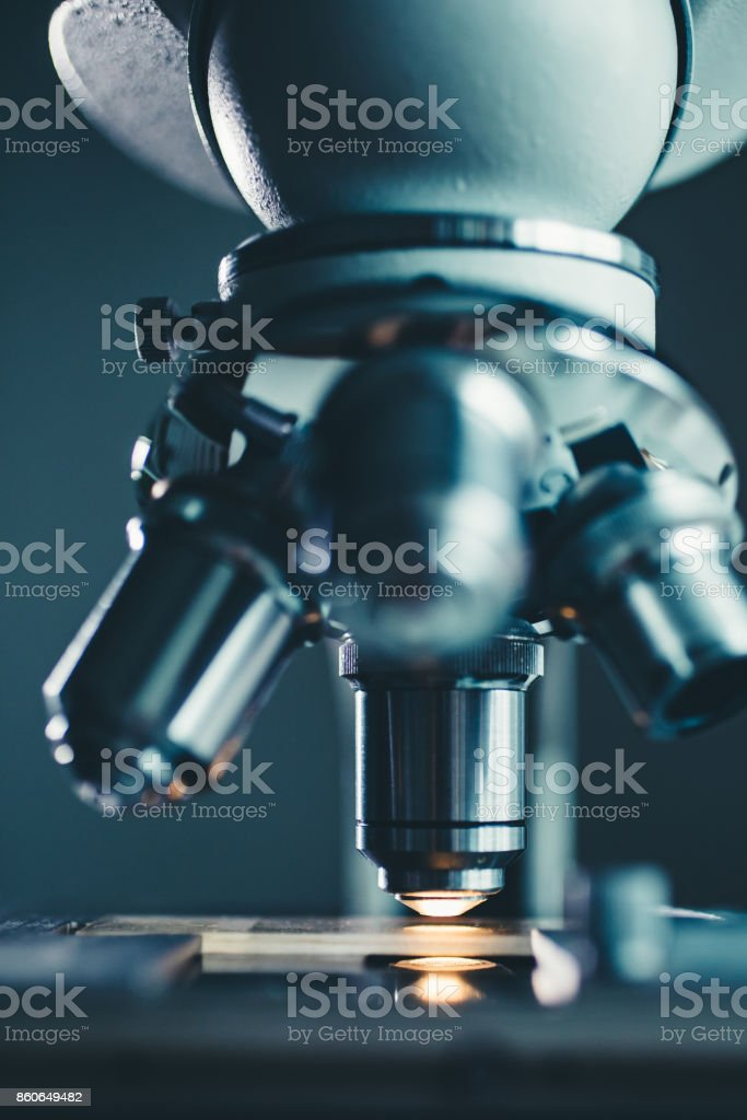 Close-up shot of microscope stock photo