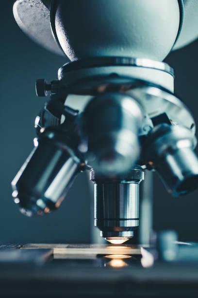 Close-up shot of microscope stock photo