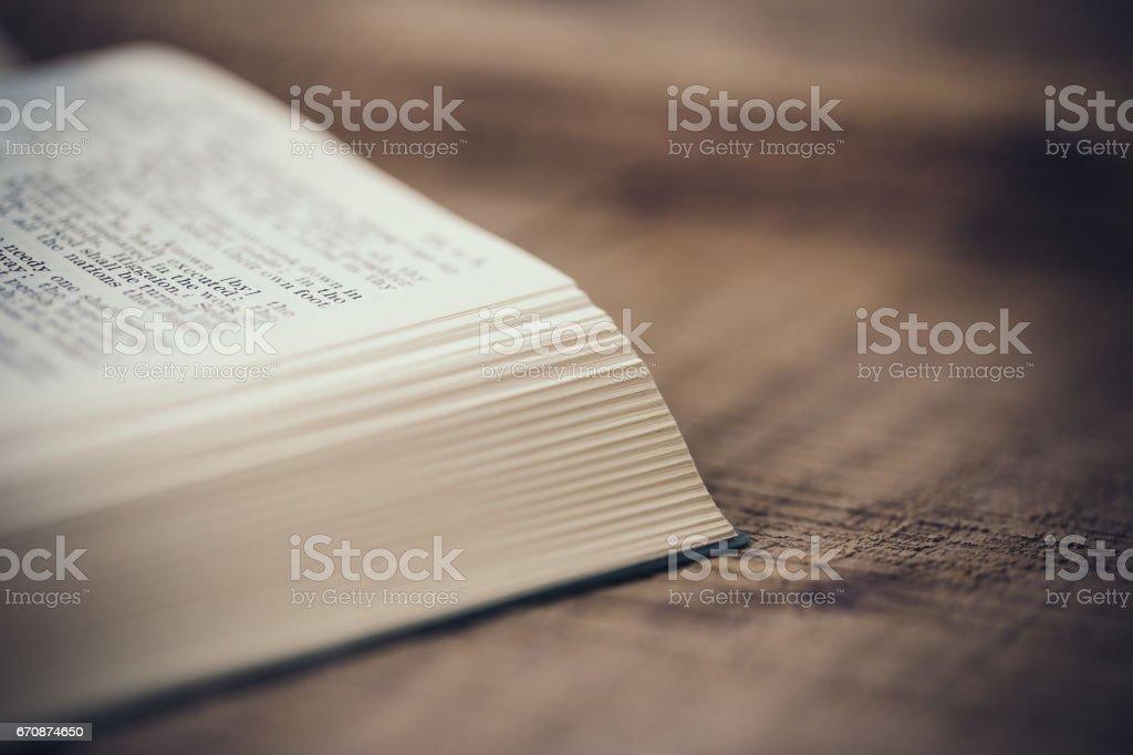 Close-up Shot Of Open Bible stock photo