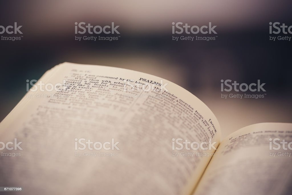 Close-up Shot Of Open Bible stock photo