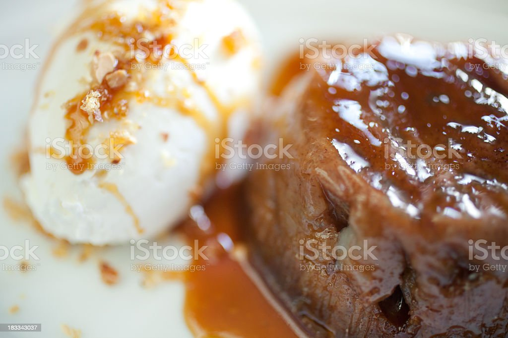 A close-up shot of persimmon pudding with sauce stock photo