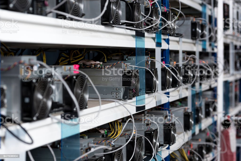 close-up shot of power supply units at ethereum mining farm stock photo