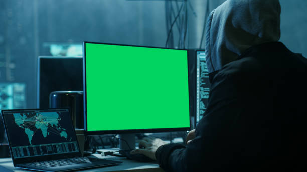 Close-up Shot of Teenage Hacker Working with Green Screen Mock-up Display Infect Servers and Infrastructure with Malware. Their Hideout is Dark, Neon Lit and Has Multiple displays. Close-up Shot of Teenage Hacker Working with Green Screen Mock-up Display Infect Servers and Infrastructure with Malware. Their Hideout is Dark, Neon Lit and Has Multiple displays. advanced tactical fighter stock pictures, royalty-free photos & images