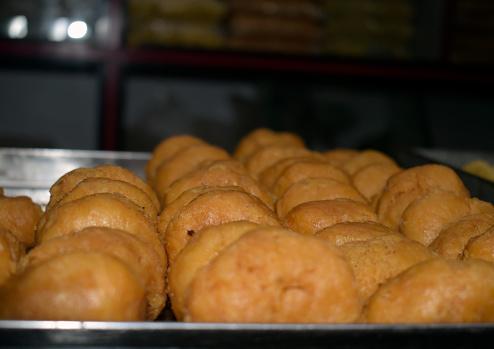 Closeup shot of the delicious freshly baked Indian Khaja dessert