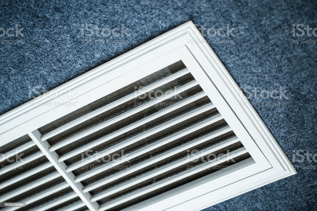 Close-up shot of the vents of an air conditioner stock photo