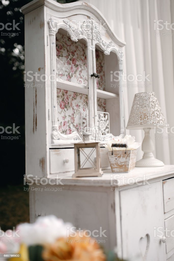Closeup shot of the wedding decoration elements  at daylight royalty-free stock photo
