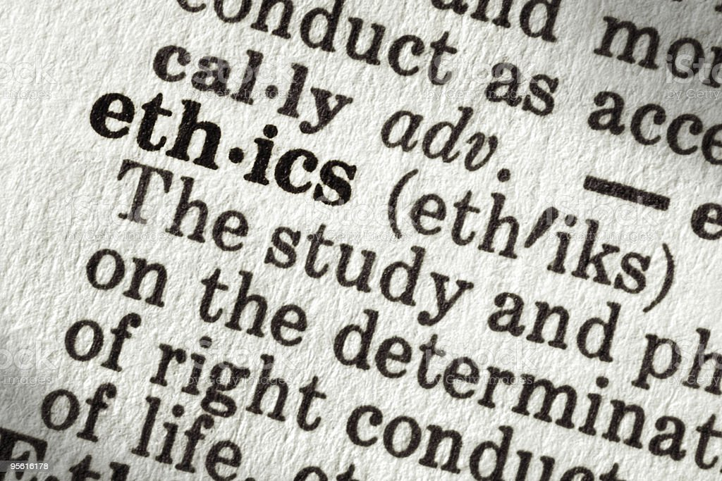 Close-up shot of the word Ethics meaning in dictionary page stock photo