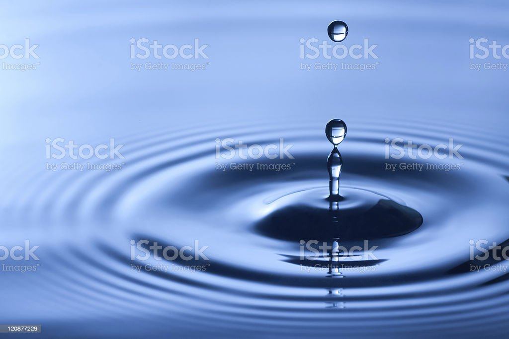 Close-up shot of water drop in dark blue shade stock photo