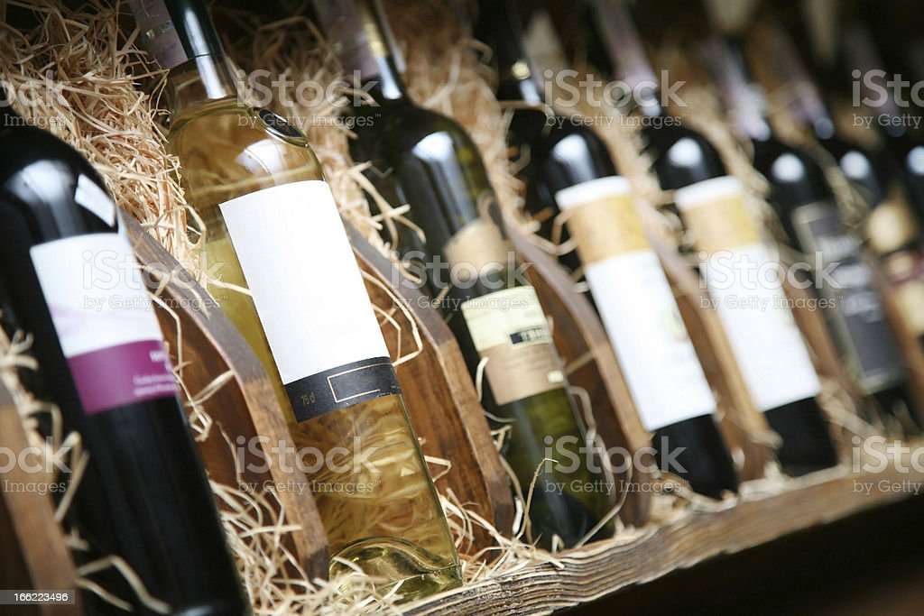 Closeup shot of wineshelf. stock photo