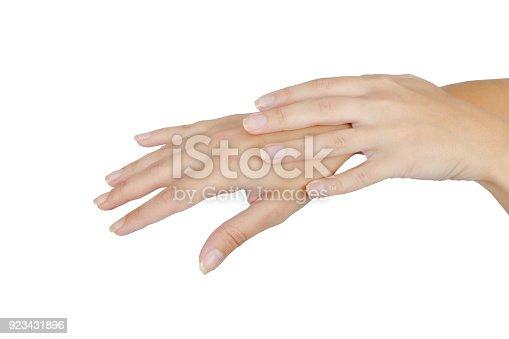 istock Close-up shot of women hands applying hand cream 923431896