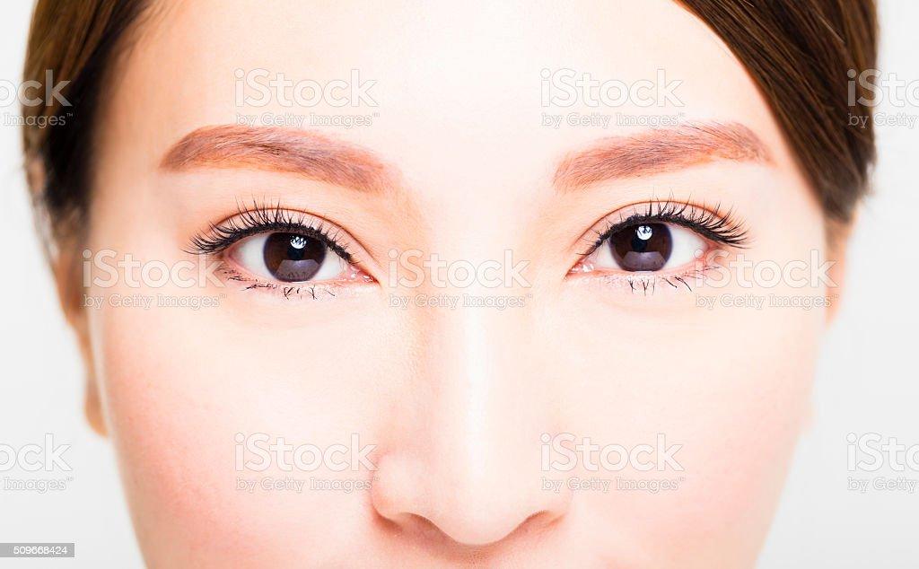 Closeup shot of young woman eyes makeup stock photo
