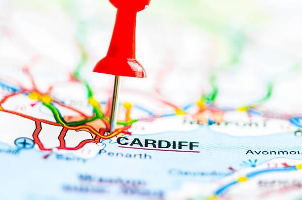 Close-up shot over Cardiff City On Map, Wales, United Kingdom stock photo