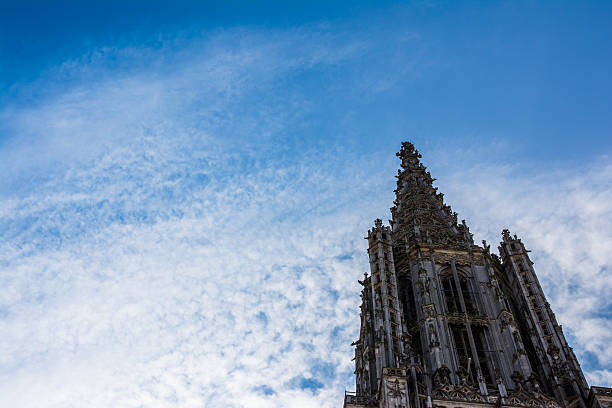 Close-Up Shot Spire Top Ulm Münster Cathedral Church Germany Europe Close-Up Shot Spire Top Ulm Münster Cathedral Church Germany Europe ulm stock pictures, royalty-free photos & images