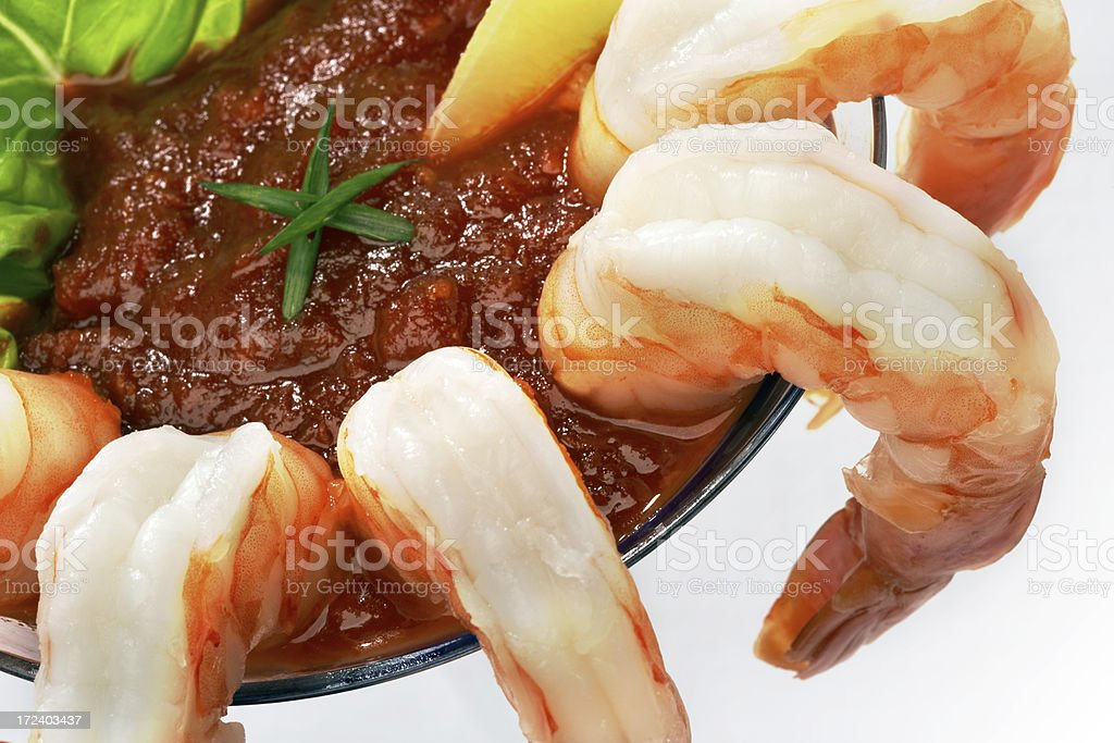 close-up shrimp cocktail in martini  glass stock photo
