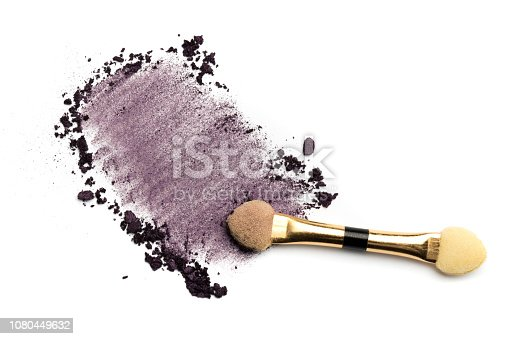 861986852 istock photo Close-up side view of professional make-up brush with natural bristle and black ferrule with crashed 1080449632