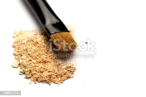 istock Close-up side view of professional make-up brush with natural bristle and black ferrule with crashed eyeshadow isolated on white background 1083574722