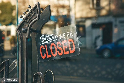 1213432934 istock photo Close-up sign - sorry we are closed 1217077082