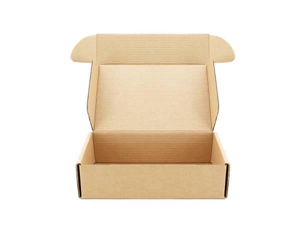 nahaufnahme einzelner karton öffnen leeren isolierten auf weißen hintergrund - box falten stock-fotos und bilder