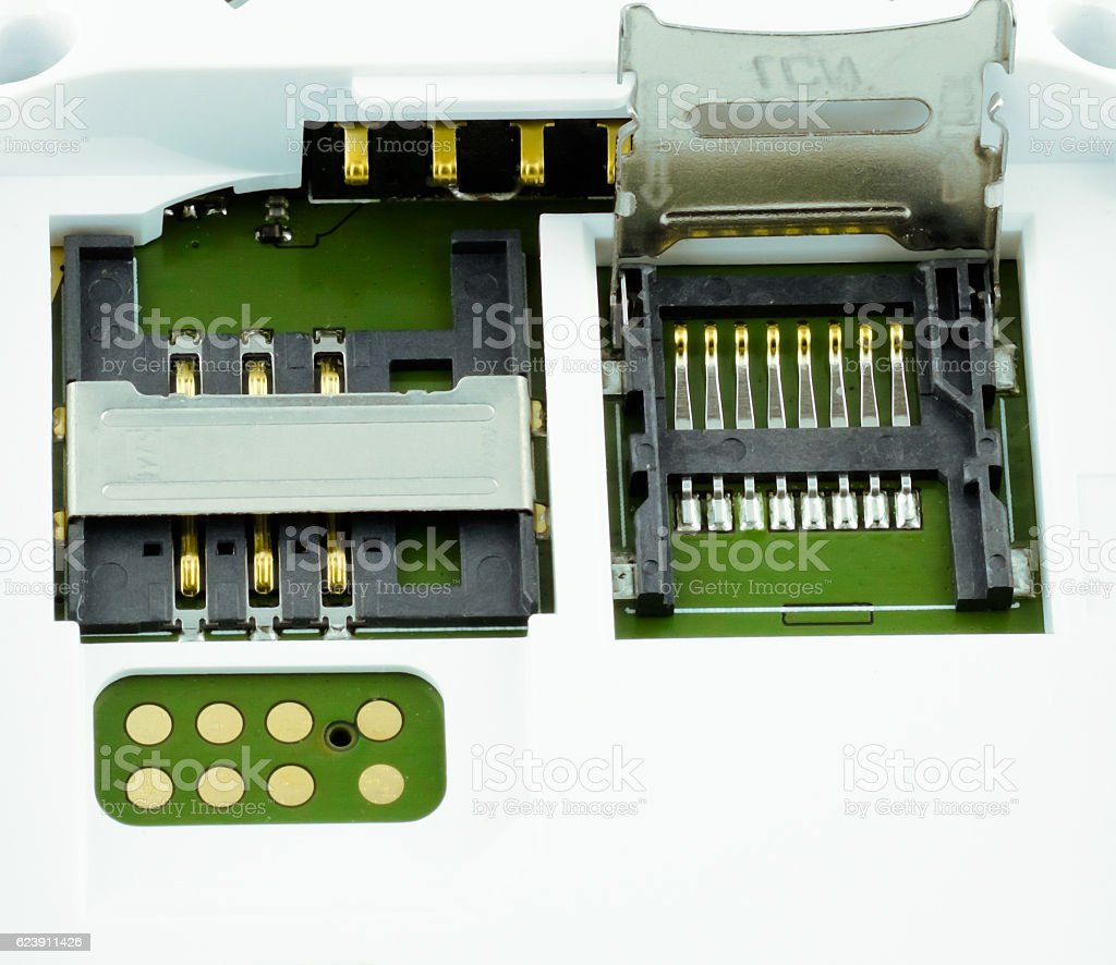 Closeup slot SIM card stock photo