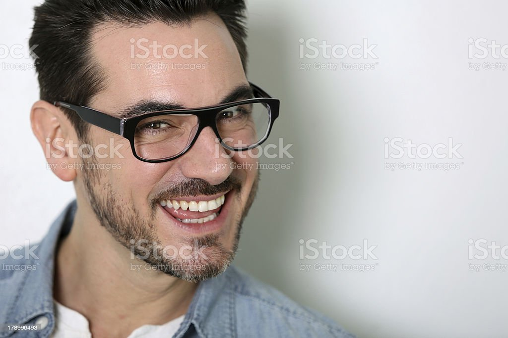 Closeup smiling man with eyeglasses royalty-free stock photo