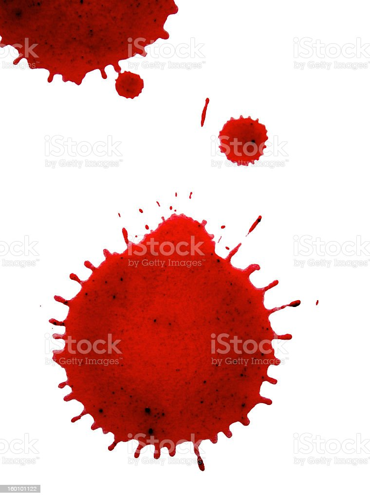 Close-up splashes of red blood drops over white background stock photo