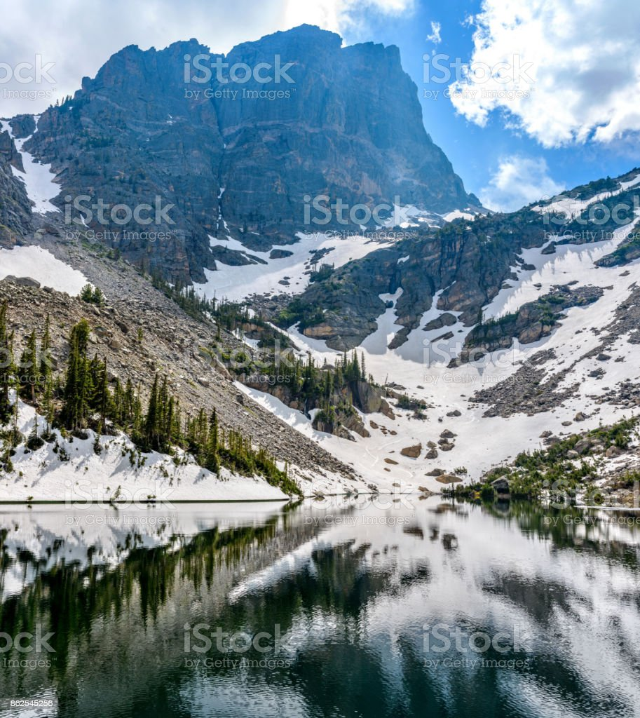 A close-up spring view of Emerald Lake at base of formidable Hallett Peak (12,713 ft), Rocky Mountain National Park, Colorado, USA. stock photo