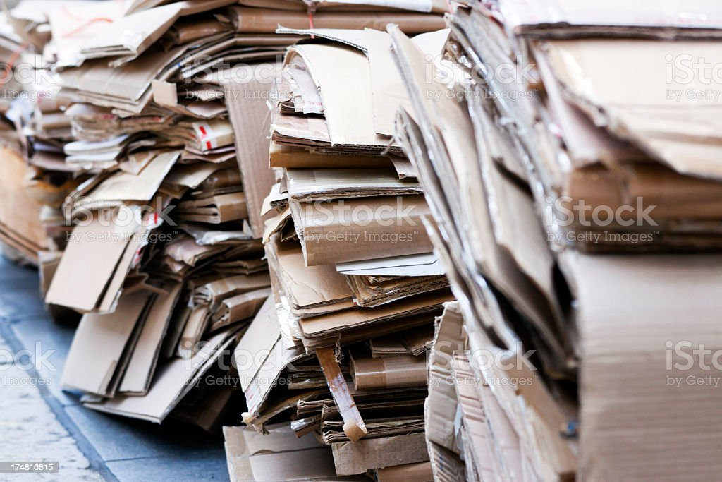 Closeup squashed carboard boxes ready for recycling royalty-free stock photo